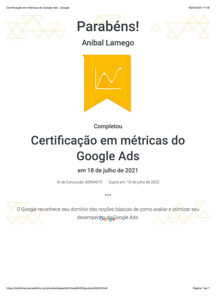 Certificação em métricas do Google Ads